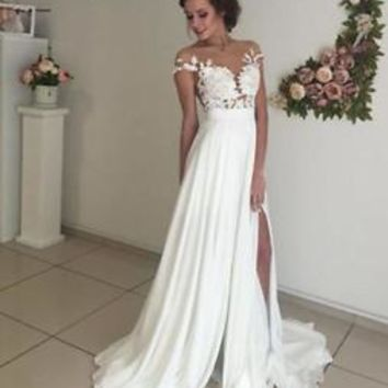 Cap Sleeves Boho Country Beach Wedding Dress with Slit Custom Size 0 2 4 6 8 10