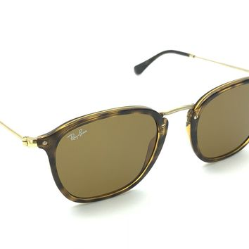 Ray-Ban RB 2448-N 710 Tortoise Gold Square Sunglasses Brown Lens 51-21 150 Italy