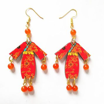 New Style Carving wood Earrings Stone Beads Handmade  Earrings  Personality Laser Cut eco Friendly Wooden Bird Jewelry