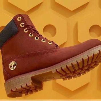 Timberland Men Women Premium Waterproof Boot Red Gold Buckle
