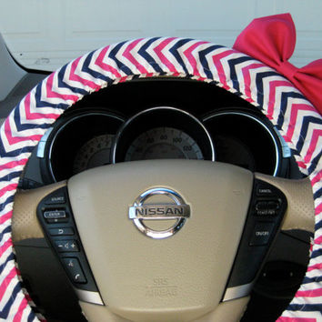 The Original Hot Pink Navy Chevron Steering Wheel Cover with Matching Bright Brink Pink Bow