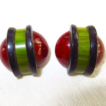 Vintage Bakelite Earrings 1940's Red Green Black Clip On