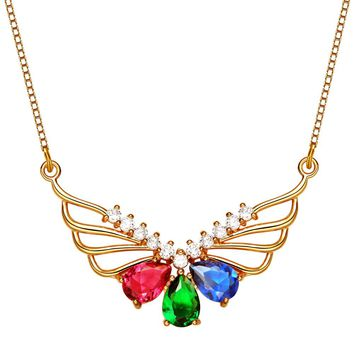 Monarch Butterfly Rainbow Powers Royal Red Green Blue Crystal Amulet Gold-Tone 18 Inch Necklace
