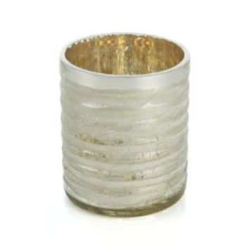 Silver Cut-Glass Candle Holder