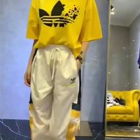 """""""Adidas"""" Women Casual Fashion Clover Print Middle Sleeve Trousers Set Two-Piece Sportswear"""