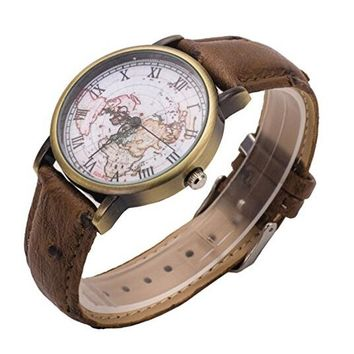 Map Leather Pattern Watch