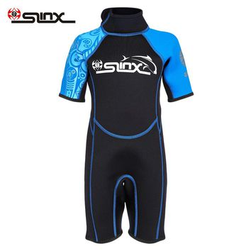 SLINX 1616 2mm Kids Diving Wetsuit Short Sleeve Neoprene Wetsuit Child One-piece Swimsuit Boys Girls Thermal Protection Wetsuit