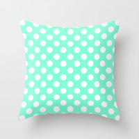 Tiffany Polka Dot Pattern Throw Pillow by RexLambo
