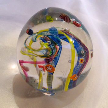 Hand Blown Glass Art Paperweight with Ribbon Cane, Star and Flower Murrini
