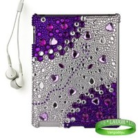Bedazzled Diamond Purple Cover Hard Case for all models of The New Apple iPad ( 3rd Generation, iPad3, wifi , + AT&T 3G , 16 GB , 32GB , MC707LL/A , MD328LL/A , MC705LL/A , MC706LL/A , MD329LL/A , MD368LL/A , ect.. ) + iPad Compatible White Earbud Earphone
