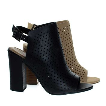 Gallery Black By Delicious, Chunky Block Stack Heel On Perforated Pin Hole Upper w Sling Back Strap