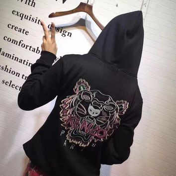 ONETOW Kenzo' Women Casual Fashion Sequin Letter Tiger Head Embroidery Long Sleeve Hooded Sweater Sweatshirt Tops