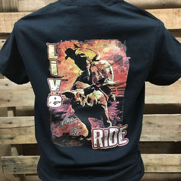 Backwoods Born & Raised Live for the Ride Cowboy Unisex Bright T Shirt