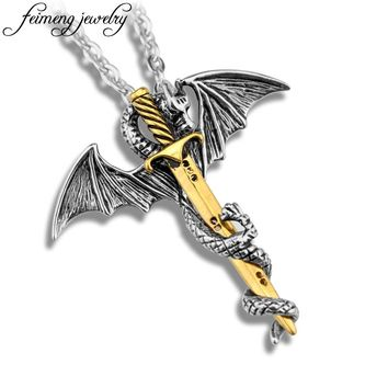 Game of Throne Necklace Flying Dragon With Wings Rolled Sword Choker Personality Cross Pterosaur Vintage Bronze Pendant Jewelry
