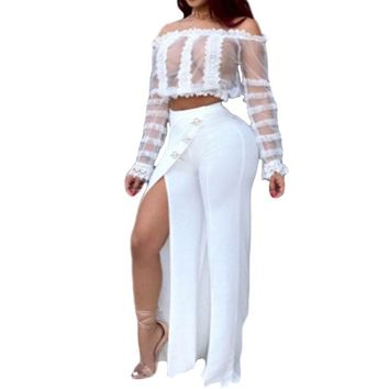 New Women Sexy Set Slash-neck Long-sleeve Mesh Crop Top and Side High Slit Pants two Piece sets White Female Party Wear A09JM181