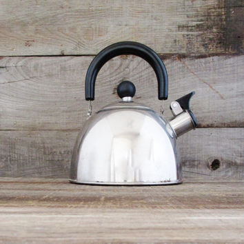 Tea Kettle Mid Century Metal Teapot with Resin Handle and Knob Vintage Stainless Steel Tea Kettle Whistling Tea Kettle Silver Teapot Retro