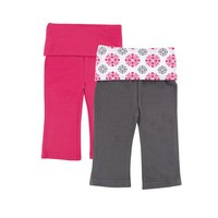Yoga Sprout Baby-Girls Yoga Pants, Pink Medallion, 0-3 Months (Pack of 2)