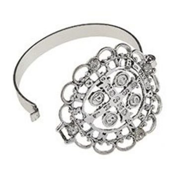 Women's Ornate San Benito Latch Bracelet. Ornate Medal of St. Benedict Latch Bracelet in Antique Silver Plating with Clear Rhinestone Accents.