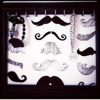 Framed Mustache black Print Jewelry Necklace Earring Board Organizer from Bowlicious Divas Bowtique
