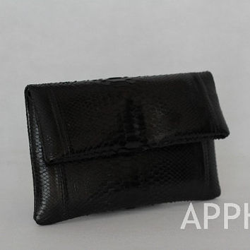Elbulli Genuine Exotic Python Clutch in Black Color