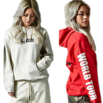 Purpose Tour Fashion Drawstring Solid Long Sleeve Top Sweater Pullover Hoodie