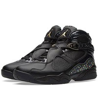 Nike Mens Air Jordan 8 Retro C&C Black/Metallic Gold Leather