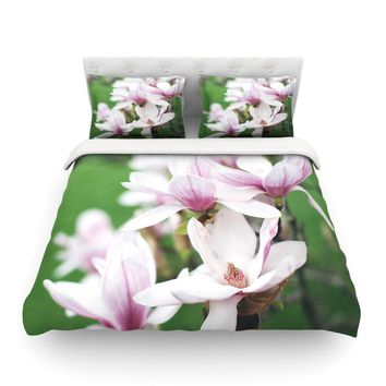 "Angie Turner ""Magnolias"" Pink Green Featherweight Duvet Cover - Outlet Item"