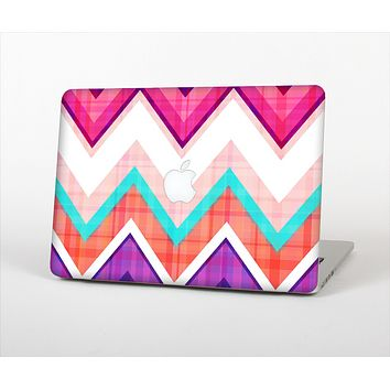 The Vibrant Pink & Blue Chevron Pattern Skin Set for the Apple MacBook Air 13""