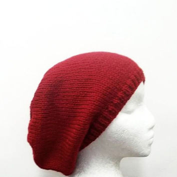 Slouchy beanie hat, Red oversized beanie, knitted, large size 4831