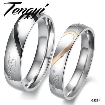 "TENGYI 1 Pair Half Heart Couple Ring for Wedding/ Engagement 2 rings ""Real Love"" 316L Stainless Stee Hot Sale Promise ring 284"