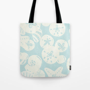 Cream Seashells on Aqua Tote Bag by Noonday Design