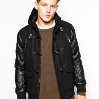 Brave Soul   Brave Soul Hooded Duffle Coat With PU Sleeves at ASOS