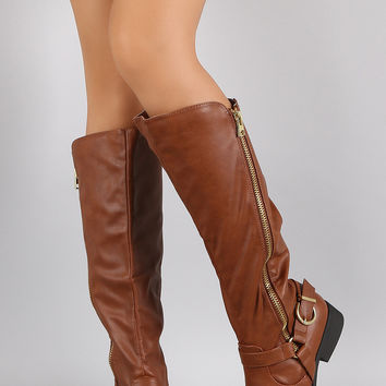 Qupid Diagonal Zip Up Buckled Hardness Riding Knee High Boots