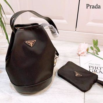 Prada New fashion leather shoulder bag women bucket bag Black