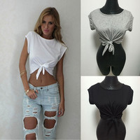 Summer Top Knotted Tie Front Crop Tops Cropped T Shirt Women Tops Women's T Shirt = 5613043585