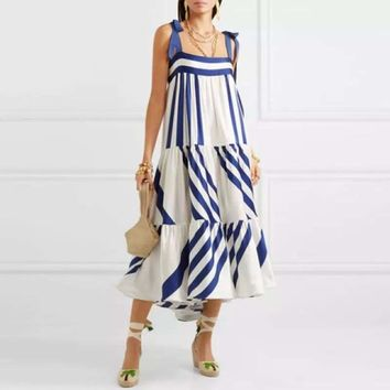 Blue and White Striped Spaghetti Strap Long Back Less Bow Lace Up Maxi Dress