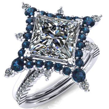 Thalim Princess/Square Moissanite 4-Point Star Alexandrite and Diamond Halo Ring ver. 2