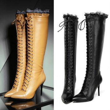 Brand New Women's High Boot Lace Up high heel Long Thigh Boots Shoes Yellow