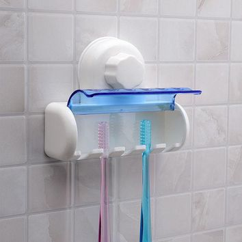 DCCKL72 New Plastic Dust-proof Toothbrush Holder Bathroom Kitchen Family Toothbrush Suction Cups Holder Wall Stand Hook 5 Racks