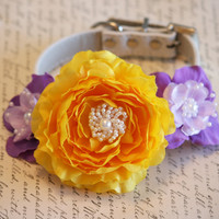 Yellow, Purple and Lavender wedding Floral Dog Collar, Pet Wedding ideas