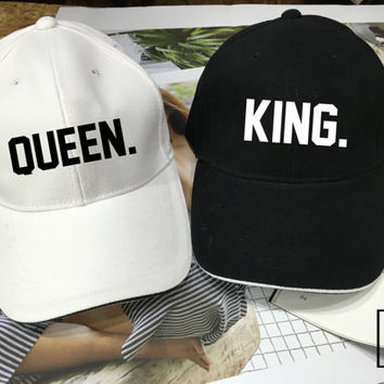 KING Queen hat, Baseball hat , Wedding Hat, Couples Hats, Honeymoon, Valentine day, king hat Queen hat Low-Profile Baseball Cap Baseball Hat