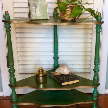 Vintage Green Corner Shelf Table