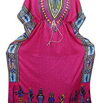 Womens Caftan Kaftan Maxi Dress Dashiki Tribal Print Beach Cover Up Kimono (Pink)