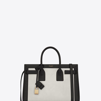 Saint Laurent CLASSIC SMALL SAC DE JOUR BAG IN Dove White And Black LEATHER | ysl.com