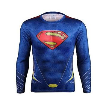 Tshirt 2016 Fitness Men Quick Dry T-shirt 3D Print Ironman Superman Captain America Marvel Comics Mens Style Long Sleeve T shirt