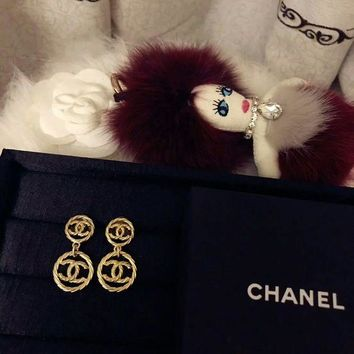 LMF3DS Chanel earrings dangle with 2 Hoop Earrings Jewelry
