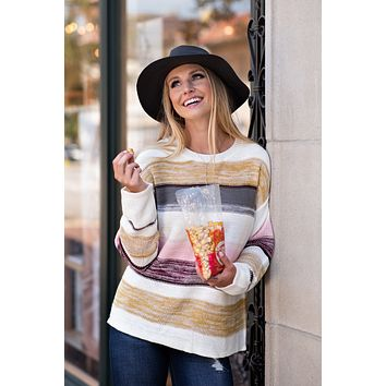 Sweet As Can Be Color Stripe Sweater : Multi