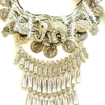 Boho Silver Coin Statement Necklace Elephant Coins Sparkly Rhinestones Hippie Hipster Coachella Rock Festival Bohemian One of a Kind Jewelry