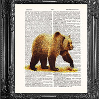 BEAR ART-Dictionary Print Book Print Page Art-Upcycled Antique Book Page-Print On Dictionary Book Page-Upcycled Book Page