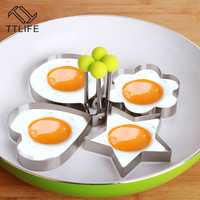 TTLIFE Stainless Steel Egg Shaper Egg Mold Cooking Tools Pancake Molds Ring Biscuit Frying Egg Rings Heart Flower Kitchen Gadget